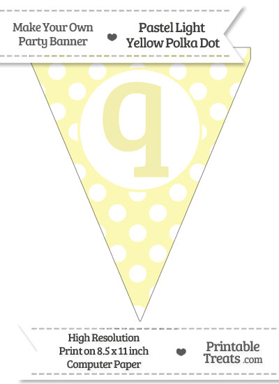 Pastel Light Yellow Polka Dot Pennant Flag Lowercase Letter Q from PrintableTreats.com