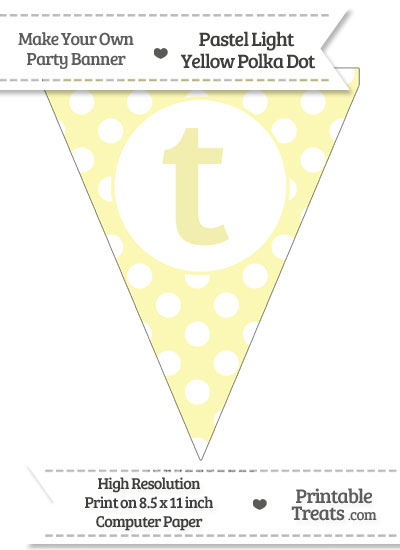 Pastel Light Yellow Polka Dot Pennant Flag Lowercase Letter T from PrintableTreats.com