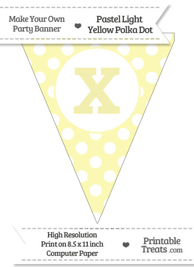 Pastel Light Yellow Polka Dot Pennant Flag Lowercase Letter X from PrintableTreats.com