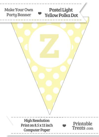 Pastel Light Yellow Polka Dot Pennant Flag Lowercase Letter Z from PrintableTreats.com