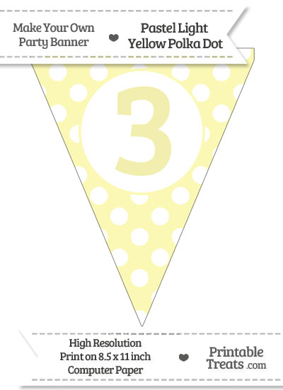 Pastel Light Yellow Polka Dot Pennant Flag Number 3 from PrintableTreats.com