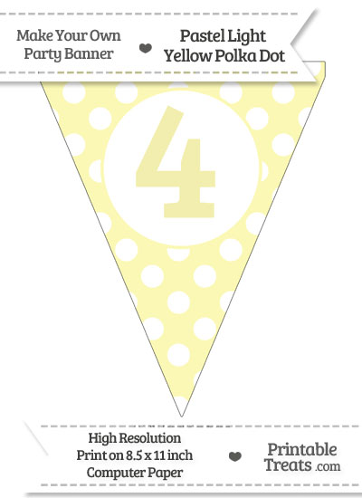 Pastel Light Yellow Polka Dot Pennant Flag Number 4 from PrintableTreats.com