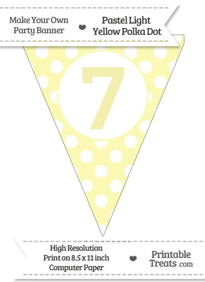 Pastel Light Yellow Polka Dot Pennant Flag Number 7 from PrintableTreats.com