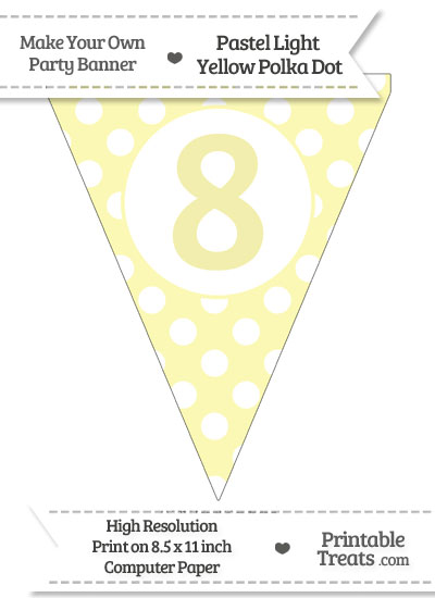 Pastel Light Yellow Polka Dot Pennant Flag Number 8 from PrintableTreats.com