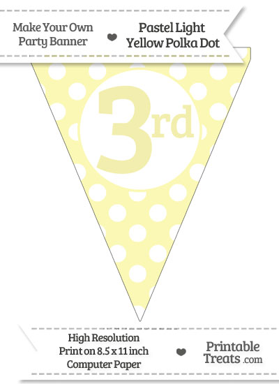 Pastel Light Yellow Polka Dot Pennant Flag Ordinal Number 3rd from PrintableTreats.com