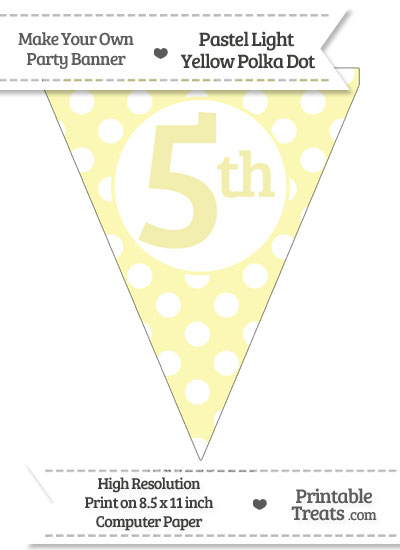 Pastel Light Yellow Polka Dot Pennant Flag Ordinal Number 5th from PrintableTreats.com