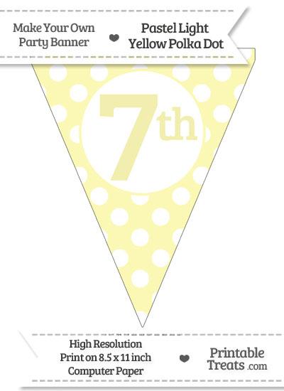 Pastel Light Yellow Polka Dot Pennant Flag Ordinal Number 7th from PrintableTreats.com