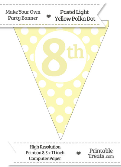 Pastel Light Yellow Polka Dot Pennant Flag Ordinal Number 8th from PrintableTreats.com