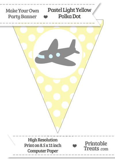 Pastel Light Yellow Polka Dot Pennant Flag with Airplane Facing Left Download from PrintableTreats.com