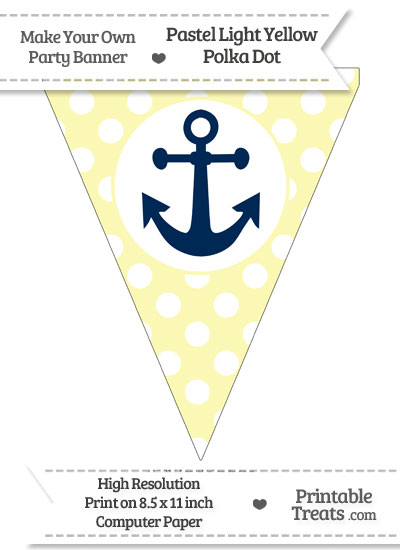 Pastel Light Yellow Polka Dot Pennant Flag with Anchor Download from PrintableTreats.com