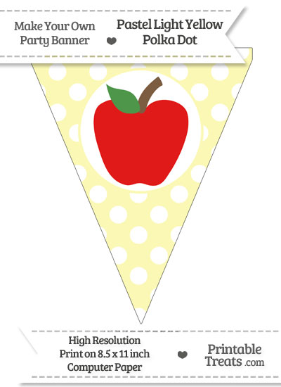 Pastel Light Yellow Polka Dot Pennant Flag with Apple Download from PrintableTreats.com