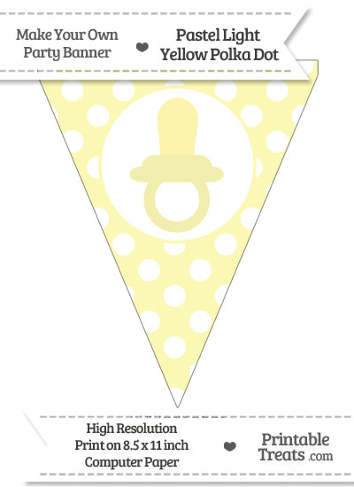 Pastel Light Yellow Polka Dot Pennant Flag with Baby Pacifier from PrintableTreats.com
