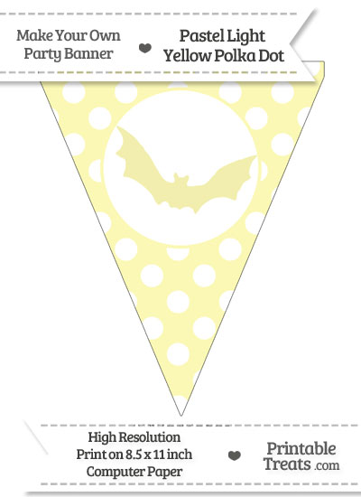 Pastel Light Yellow Polka Dot Pennant Flag with Bat from PrintableTreats.com