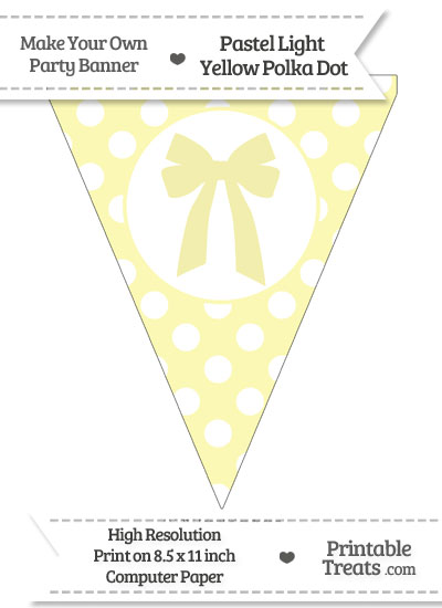 Pastel Light Yellow Polka Dot Pennant Flag with Bow from PrintableTreats.com