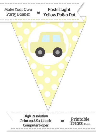 Pastel Light Yellow Polka Dot Pennant Flag with Car Facing Left from PrintableTreats.com