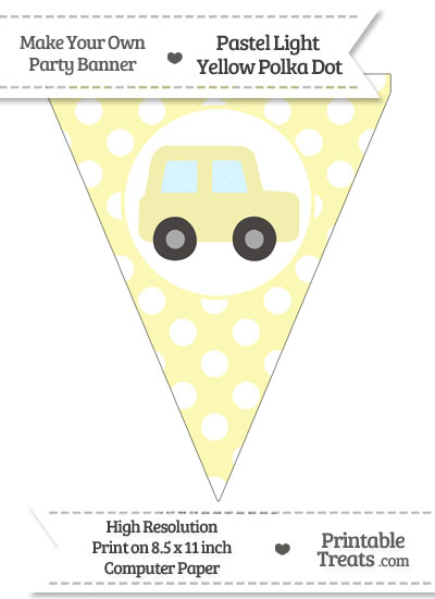 Pastel Light Yellow Polka Dot Pennant Flag with Car Facing Right from PrintableTreats.com