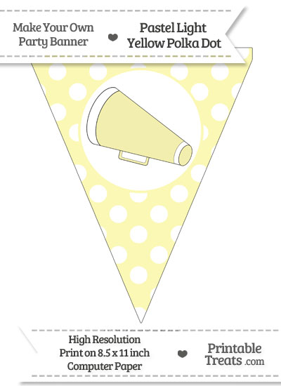 Pastel Light Yellow Polka Dot Pennant Flag with Cheer Megaphone Facing Left from PrintableTreats.com