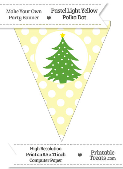 Pastel Light Yellow Polka Dot Pennant Flag with Christmas Tree Download from PrintableTreats.com