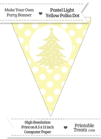 Pastel Light Yellow Polka Dot Pennant Flag with Christmas Tree from PrintableTreats.com