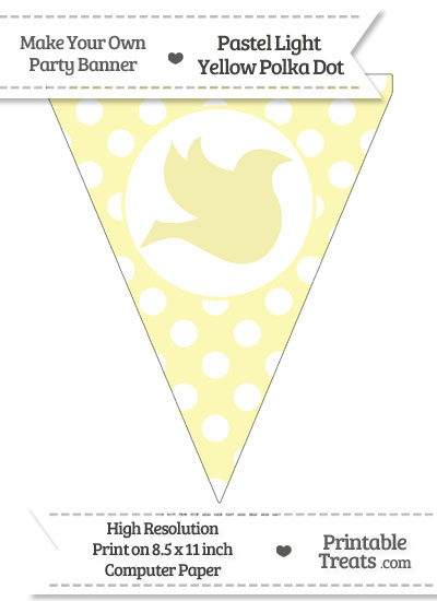Pastel Light Yellow Polka Dot Pennant Flag with Dove Facing Right from PrintableTreats.com