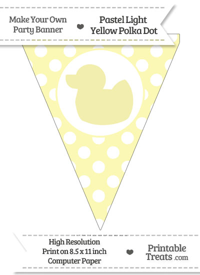 Pastel Light Yellow Polka Dot Pennant Flag with Duck Facing Left from PrintableTreats.com