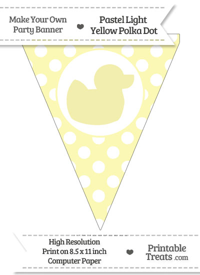 Pastel Light Yellow Polka Dot Pennant Flag with Duck Facing Right from PrintableTreats.com