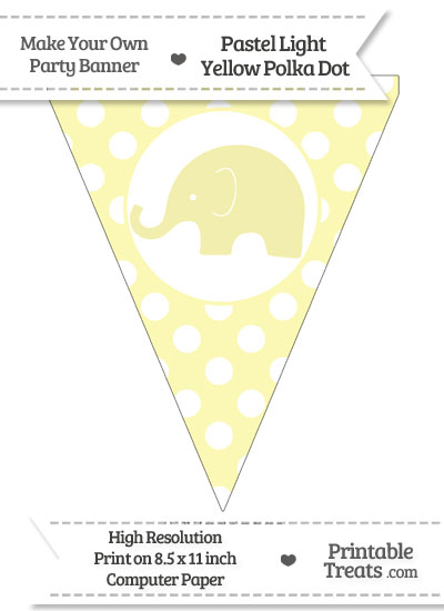 Pastel Light Yellow Polka Dot Pennant Flag with Elephant Facing Left from PrintableTreats.com