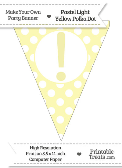 Pastel Light Yellow Polka Dot Pennant Flag with Exclamation Mark from PrintableTreats.com