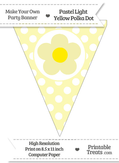 Pastel Light Yellow Polka Dot Pennant Flag with Flower from PrintableTreats.com