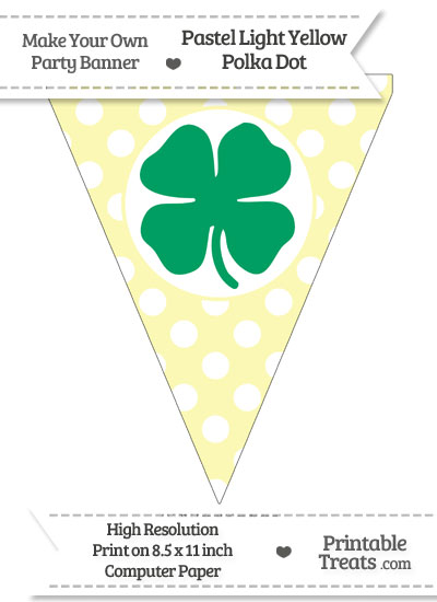 Pastel Light Yellow Polka Dot Pennant Flag with Four Leaf Clover Facing Left Download from PrintableTreats.com