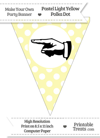 Pastel Light Yellow Polka Dot Pennant Flag with Hand Pointing Left Download from PrintableTreats.com