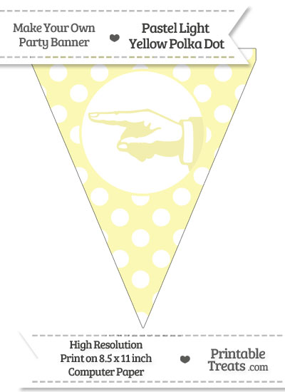 Pastel Light Yellow Polka Dot Pennant Flag with Hand Pointing Left from PrintableTreats.com
