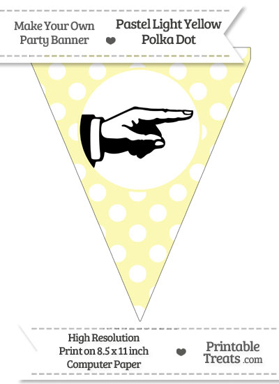 Pastel Light Yellow Polka Dot Pennant Flag with Hand Pointing Right Download from PrintableTreats.com