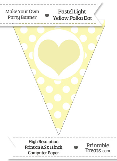 Pastel Light Yellow Polka Dot Pennant Flag with Heart from PrintableTreats.com