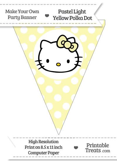 Pastel Light Yellow Polka Dot Pennant Flag with Hello Kitty from PrintableTreats.com