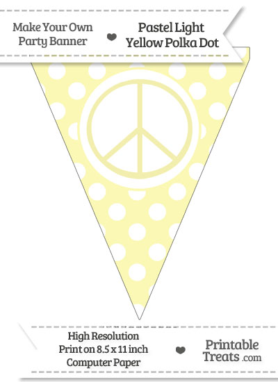 Pastel Light Yellow Polka Dot Pennant Flag with Peace Sign from PrintableTreats.com