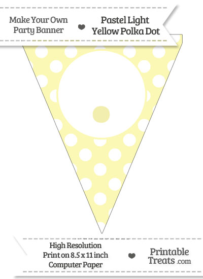 Pastel Light Yellow Polka Dot Pennant Flag with Period from PrintableTreats.com