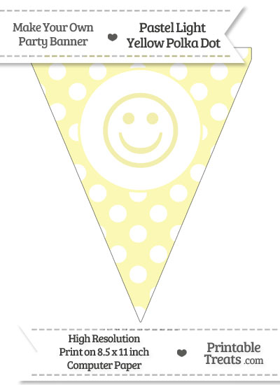 Pastel Light Yellow Polka Dot Pennant Flag with Smiley Face from PrintableTreats.com