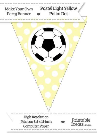 Pastel Light Yellow Polka Dot Pennant Flag with Soccer Ball Download from PrintableTreats.com