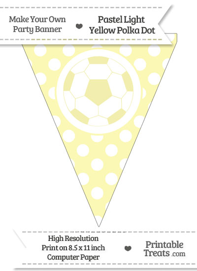 Pastel Light Yellow Polka Dot Pennant Flag with Soccer Ball from PrintableTreats.com