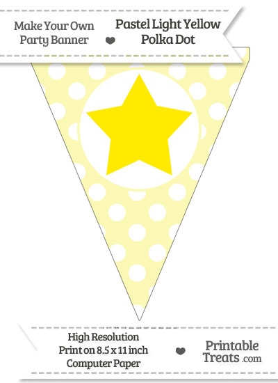 Pastel Light Yellow Polka Dot Pennant Flag with Star Download from PrintableTreats.com
