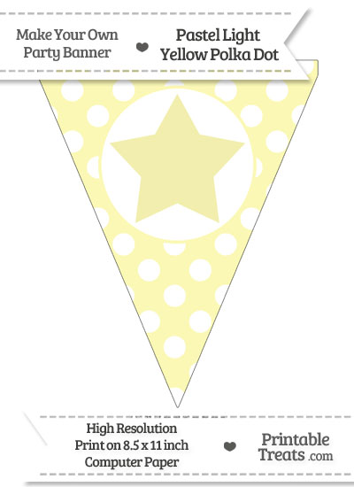 Pastel Light Yellow Polka Dot Pennant Flag with Star from PrintableTreats.com