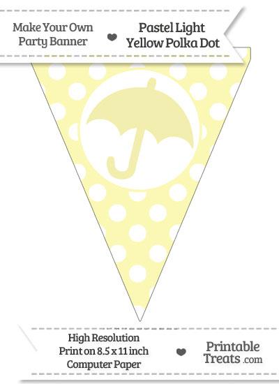 Pastel Light Yellow Polka Dot Pennant Flag with Umbrella from PrintableTreats.com