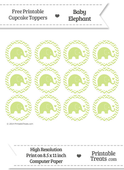 Pastel Lime Green Baby Elephant Chevron Cupcake Toppers from PrintableTreats.com