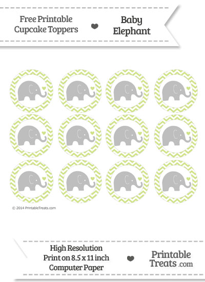 Pastel Lime Green Chevron Baby Elephant Cupcake Toppers from PrintableTreats.com