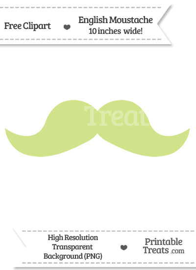 Pastel Lime Green English Mustache Clipart from PrintableTreats.com