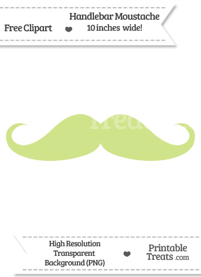 Pastel Lime Green Handlebar Moustache Clipart from PrintableTreats.com