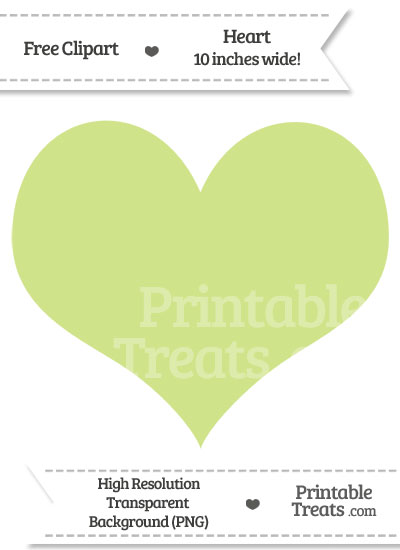 Pastel Lime Green Heart Clipart from PrintableTreats.com