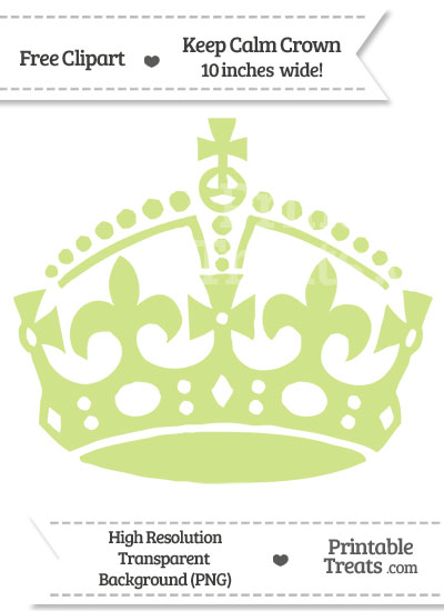 Pastel Lime Green Keep Calm Crown Clipart from PrintableTreats.com