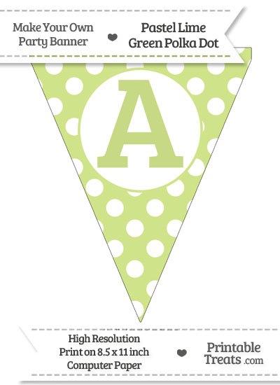 Pastel Lime Green Polka Dot Pennant Flag Capital Letter A from PrintableTreats.com